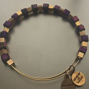 Alex & Ani purple and gold cube bead bangle